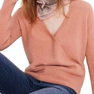 Madewell Faux Wrap Pullover Pink Sweater Medium